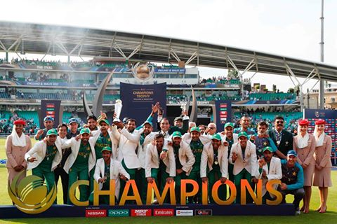 Pakistan beating up rivals India concieved the title of last champions trophy in Crickethistory