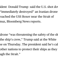US shot down Iranian Drone near Hormuz